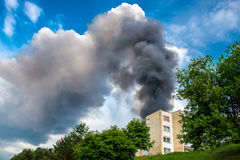 Fire smoke. In living apartments flats Stock Image