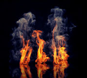 The fire. With smoke over black background. Beautiful CG illustration Stock Photo