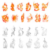 Fire and smoke set Royalty Free Stock Photography