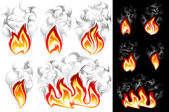 Fire Smoke Spurt Flame Burning Color Ink Icon Set. Fire icons with smoke; Vector set of spurts of flame in hand drawing tribal style for t-shirt print design on Royalty Free Stock Photos