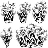 Fire Smoke Spurt Flame Burning Monochrome Ink Icon Set. Fire with spurts of flame with swirled smoke; Vector set of monochrome icons in ink hand drawing style Royalty Free Stock Photo