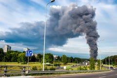 Fire smoke in Vilnius Stock Images