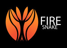 FIRE SNAKE LOGO. A FIRE SNAKE LOGO, black background Royalty Free Stock Images