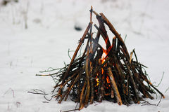 Fire in the snow Stock Images