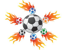 Fire soccer. The background of soccer in fire Stock Images
