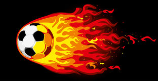 Fire soccer ball. Fire soccer on black background,  illustration Royalty Free Stock Images