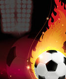 Fire soccer ball. Soccer ball on fire. Abstract soccer background Royalty Free Stock Images