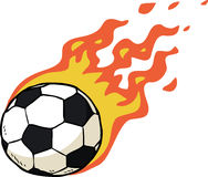 Fire soccer ball. Cartoon doodle fire soccer ball illustration Stock Photos