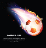 Fire Soccer Ball or Football Symbol with Stars. On Black Background Royalty Free Stock Images