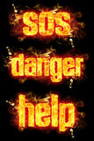 Fire Text SOS Danger Help. Fire SOS danger help text with burning flames Stock Image