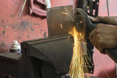 Fire spark from grinding metal Stock Photography