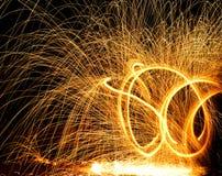 Fire sparkler on black background.  Royalty Free Stock Images
