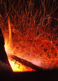 Fire sparkles. In a chimney royalty free stock photo