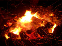 Fire and Sparks. A camp file with trailing red hot sparks Stock Images