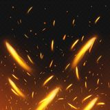 Fire sparks flying. Firestorm texture. Sparks charcoal. on transparent background. Vector illustration. Eps 10 Stock Image
