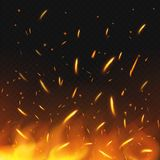 Fire sparks flying. Firestorm texture. Sparks charcoal. on transparent background. Vector illustration. Eps 10 Royalty Free Stock Photos