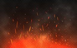Fire sparks flying up. Glowing particles on a transparent background. Realistic fire and smoke. Red and yellow light. Effect. Vector illustration Stock Image