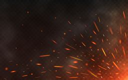 Fire sparks flying up on transparent background. Smoke and glowing particles on black. Realistic lighting sparks with. Bokeh effect for design. Vector Royalty Free Stock Images