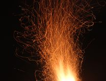 The fire sparks in motion. This is a track of fire sparks Stock Images