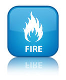 Fire special cyan blue square button. Fire isolated on special cyan blue square button reflected abstract illustration Royalty Free Stock Photography
