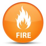 Fire special orange round button. Fire isolated on special orange round button abstract illustration Royalty Free Stock Photography