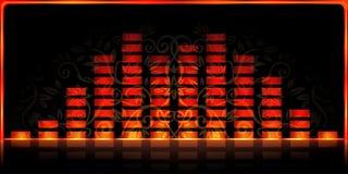 Fire spectrum analyzer. Fire-styled spectrum analyzer on black decorated background Stock Image