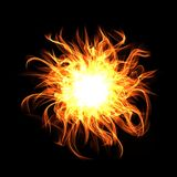 Fire sphere on black background. Digital illustration.  Stock Photos