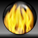 Fire into a sphere. On a grey background Stock Photo