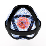 Fire sphere. Imaginary fire sphere with black frame, 3D Stock Image