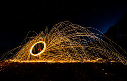 of fire spinning Stock Photo