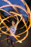 Fire spinning, hoop dancer, performing. Royalty Free Stock Photography