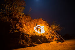 Fire spinning from steel wool Royalty Free Stock Image