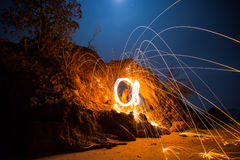 Fire spinning from steel wool Royalty Free Stock Photo