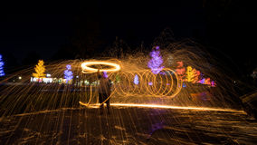 Fire spinning from steel wool Stock Image