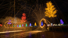 Fire spinning from steel wool. During night scape activity at Ipoh, Perak, Malaysia Stock Photography