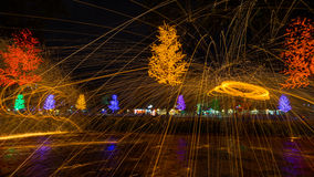 Fire spinning from steel wool Royalty Free Stock Photography