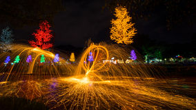 Fire spinning from steel wool Stock Photo