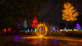Fire spinning from steel wool. During night scape activity at Ipoh, Perak, Malaysia Royalty Free Stock Photography