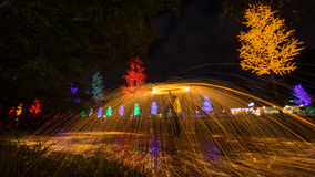 Fire spinning from steel wool Royalty Free Stock Images