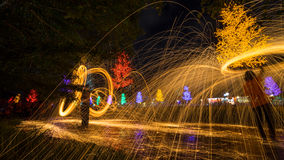 Fire spinning from steel wool. During night scape activity at Ipoh, Perak, Malaysia Royalty Free Stock Images