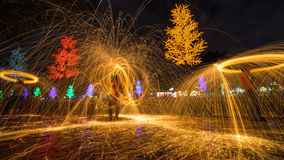 Fire spinning from steel wool. During night scape activity at Ipoh, Perak, Malaysia Stock Image