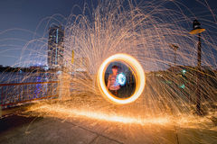 Fire spinning from Steel Wool Stock Photos
