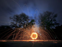 Burning steel wool Stock Photo