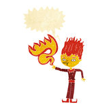 Fire spirit cartoon with speech bubble Stock Photography