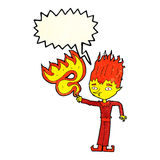 Fire spirit cartoon with speech bubble Stock Images