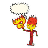 Fire spirit cartoon with speech bubble Royalty Free Stock Photography