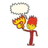 Fire spirit cartoon with speech bubble Royalty Free Stock Photography
