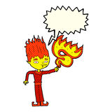 Fire spirit cartoon with speech bubble Royalty Free Stock Photos