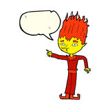 Fire spirit cartoon with speech bubble Stock Image