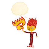 Fire spirit cartoon with thought bubble Stock Photo